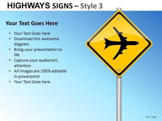 Commercial Communication Highways Signs 3 PowerPoint Slides And Ppt Diagram Templates
