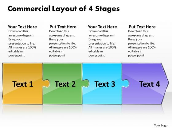 Commercial Layout Of 4 Stages Company Process Flow Chart PowerPoint Slides