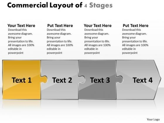 Commercial Layout Of 4 Stages Flow Charts In Office PowerPoint Slides