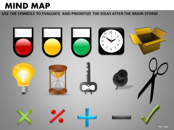 Commonly Used Mind Map Icons On Ppt Slides
