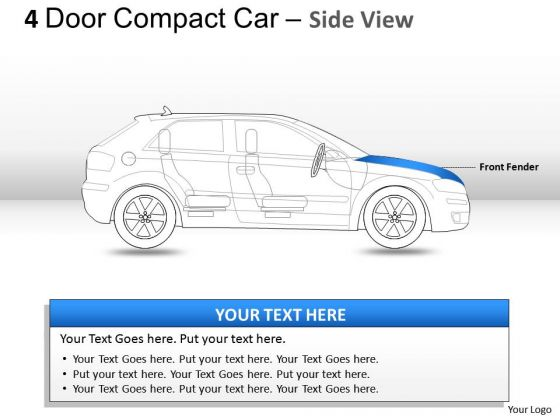 Compact 4 Door Blue Car Side View PowerPoint Slides And Ppt Diagram Templates
