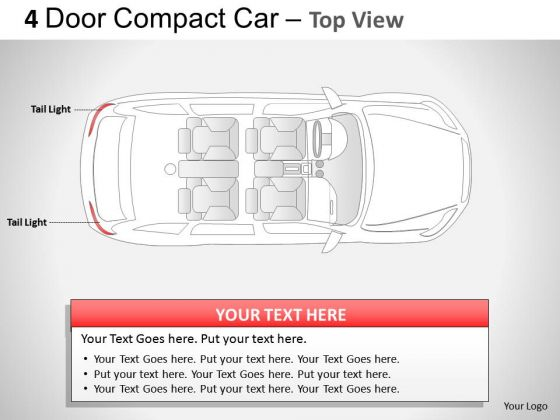 Compact 4 Door Blue Car Top View PowerPoint Slides And Ppt Diagram Templates