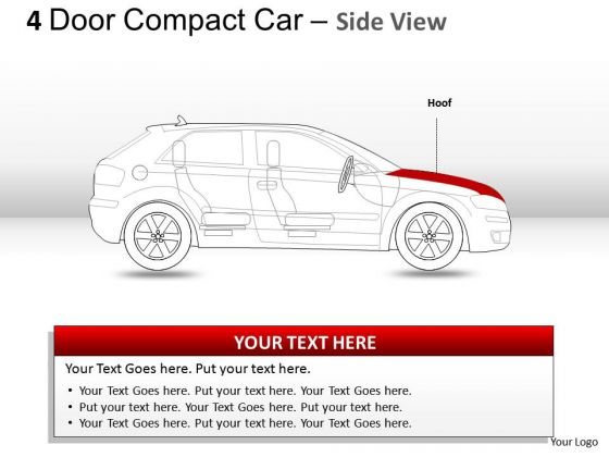 Compact 4 Door Red Car Side View PowerPoint Slides And Ppt Diagram Templates