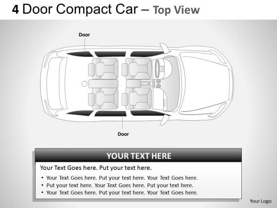 Compact 4 Door Red Car Top View PowerPoint Slides And Ppt Diagram Templates