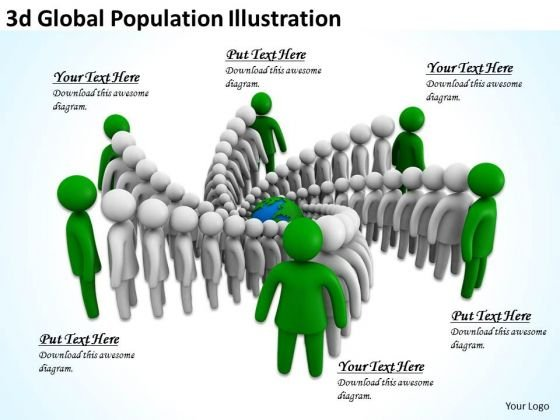 Company Business Strategy 3d Global Population Illustration Concept