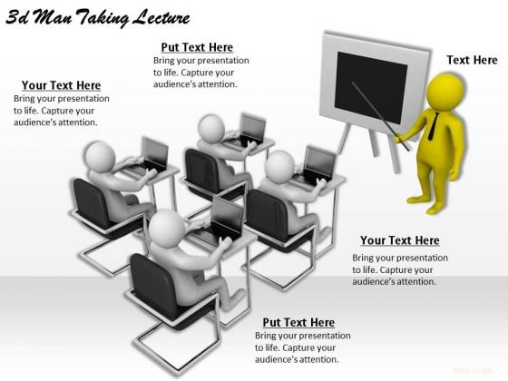 Company Business Strategy 3d Man Taking Lecture Character