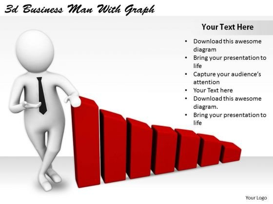 Company Business Strategy 3d Man With Graph Characters