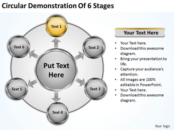 Company Business Strategy Circular Demonstration Of 6 Stages Modern Marketing Concepts