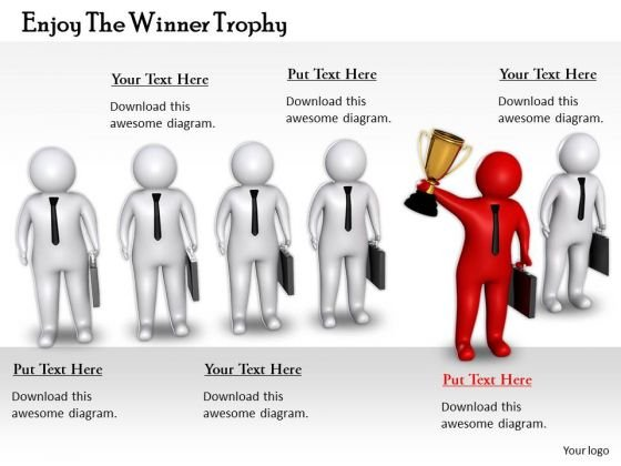 Company Business Strategy Enjoy The Winner Trophy 3d Character Modeling