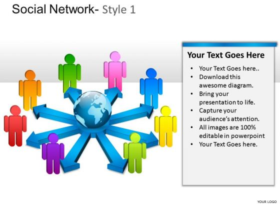 Company Social Network 1 PowerPoint Slides And Ppt Diagram Templates