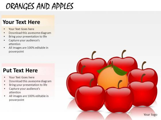 Compare Oranges And Apples PowerPoint Slides And Ppt Diagram Templates