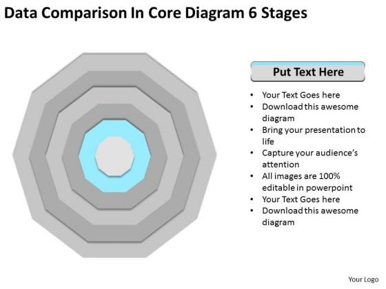 Comparison In Core Diagram 6 Stages Sample Business Proposal Outline PowerPoint Templates