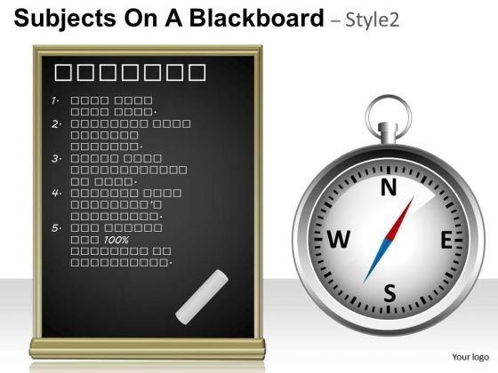 Compass Directions Subjects On A Blackboard 2 PowerPoint Slides And Ppt Diagram Templates
