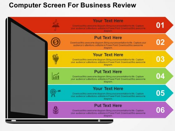 Computer Screen For Business Review Powerpoint Template