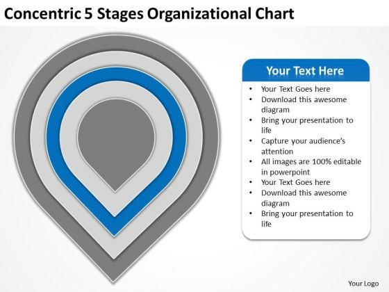 Concentric 5 Stages Organisational Chart Business Plan Format Template PowerPoint Slides