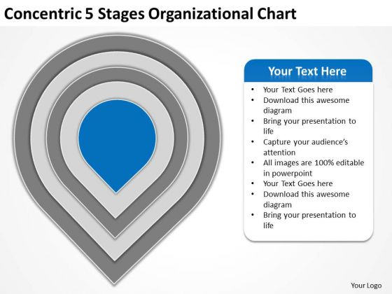 Concentric 5 Stages Organisational Chart Ppt Sample Business Plans PowerPoint Templates