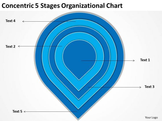 Concentric 5 Stages Organisational Chart Standard Business Plan PowerPoint Slides