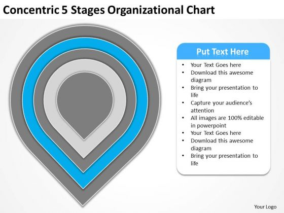 Concentric 5 Stages Organisational Chart Strategic Plan PowerPoint Templates