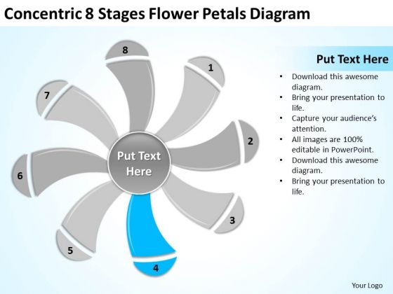 Concentric 8 Stages Flower Petals Diagram Ppt Bottled Water Business Plan PowerPoint Templates