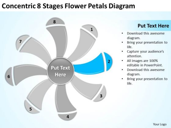 Concentric 8 Stages Flower Petals Diagram Ppt Business Plan Company PowerPoint Slides