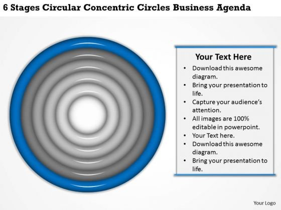 Concentric Circles Business Agenda Ppt Writing Plan Template Free PowerPoint Templates