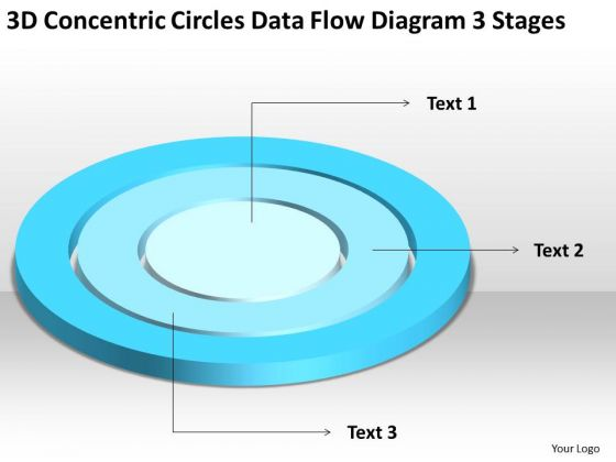Concentric Circles Data Flow Diagram 3 Stages Business Plan For Non Profit PowerPoint Slides