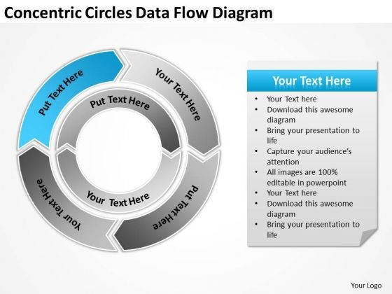 Concentric Circles Data Flow Diagram Business Plan Templates PowerPoint