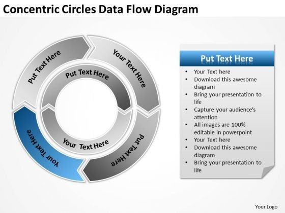 Concentric Circles Data Flow Diagram Writing Your Business Plan PowerPoint Templates
