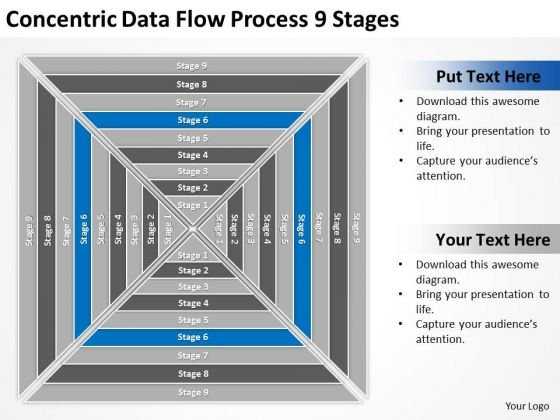 Concentric Data Flow Process 9 Stages Business Plans For PowerPoint Templates