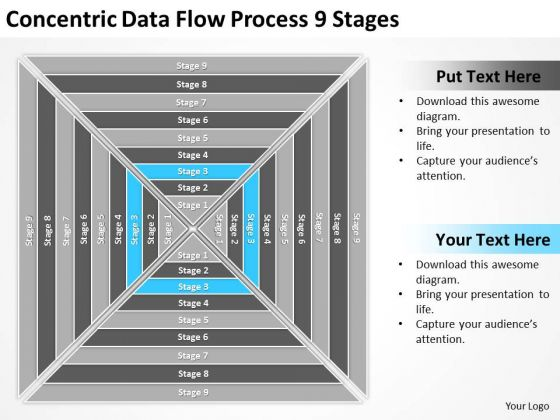 Concentric Data Flow Process 9 Stages Ppt Business Plan PowerPoint Slides