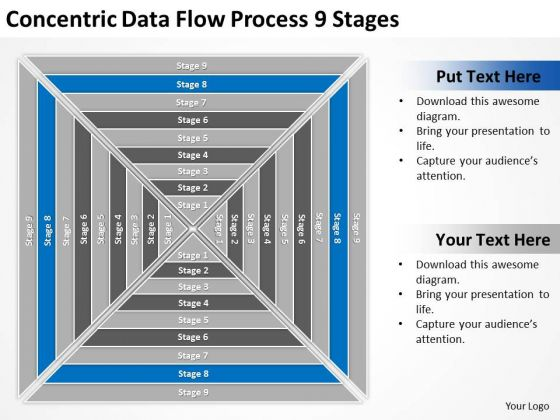 Concentric Data Flow Process 9 Stages Ppt Business Plan PowerPoint Templates