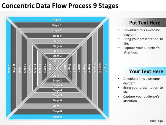 Concentric Data Flow Process 9 Stages Ppt Easy Business Plan Template PowerPoint Slides