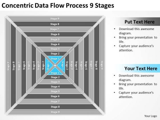 Concentric Data Flow Process 9 Stages Ppt Plans PowerPoint Slides