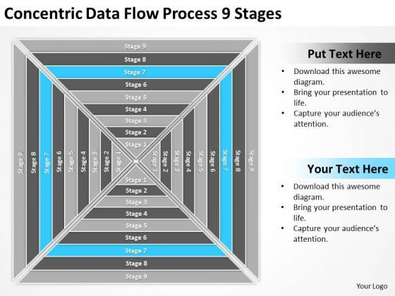 Concentric Data Flow Process 9 Stages Ppt Template For Business Plan PowerPoint Slides