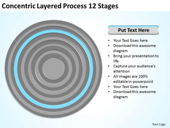 Concentric Layered Process 12 Stages Business Plan PowerPoint Templates