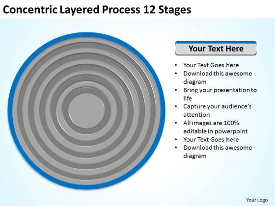 Concentric Layered Process 12 Stages Ppt Service Business Plan PowerPoint Slides