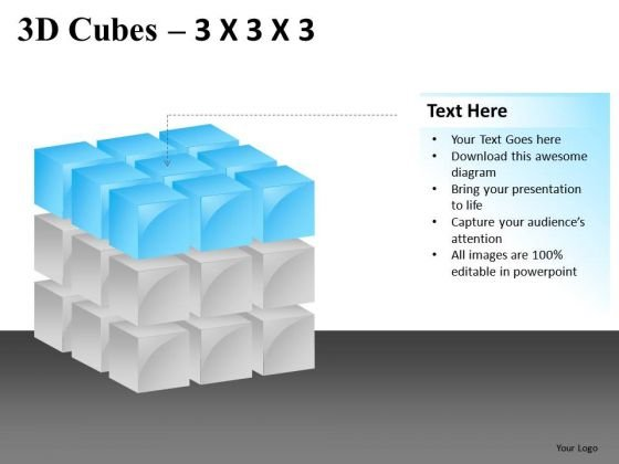 Concept 3d Cubes 3x3x3 PowerPoint Slides And Ppt Diagram Templates