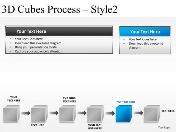 Concept 3d Cubes Process 2 PowerPoint Slides And Ppt Diagram Templates