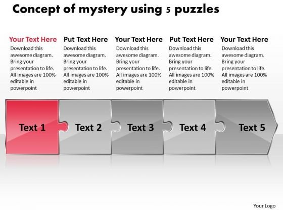 Concept Of Mystery Using 5 Puzzles Documentation Flow Chart PowerPoint Slides