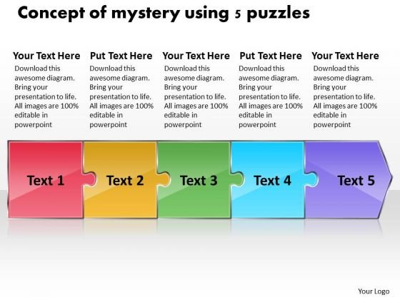 Concept Of Mystery Using 5 Puzzles Office Flow Charts PowerPoint Templates