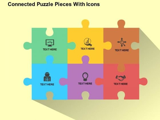 connected puzzle pieces with icons powerpoint templates, Powerpoint templates