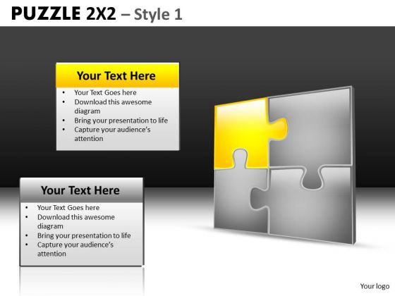 Connected Puzzles With 1 Piece Highlighted PowerPoint Templates And Ppt Slides