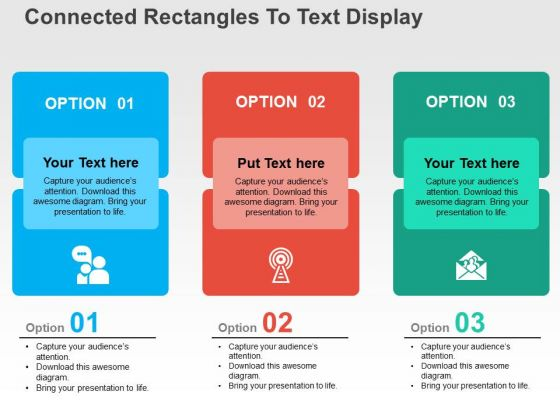 Connected Rectangles To Text Display PowerPoint Templates
