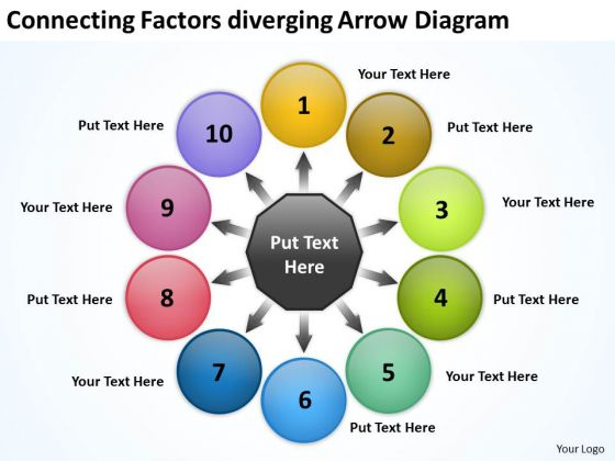 Connecting Factors Diverging Arrow Diagram Circular Flow Layout PowerPoint Slides