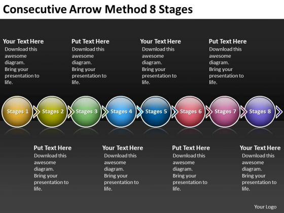 Consecutive Arrow Method 8 Stages Flowchart Creator PowerPoint Templates