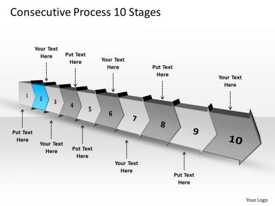 Consecutive Process 10 Stages Creating Flowchart PowerPoint Templates