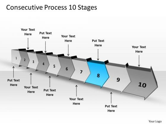 Consecutive Process 10 Stages Flowchart PowerPoint Freeware Slides
