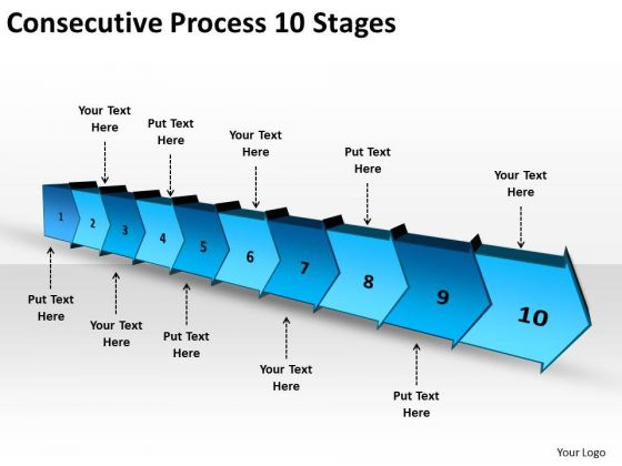 Consecutive Process 10 Stages Ppt Flowchart Creator PowerPoint Templates