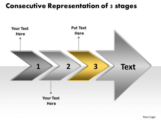 Consecutive Representation Of 3 Stages Production Flow Chart PowerPoint Templates