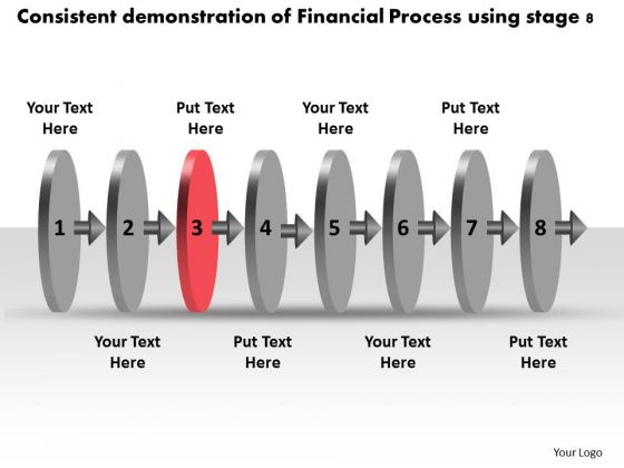 Consistent Demonstration Of Financial Process Using Stage 8 Flow Charts PowerPoint Slides